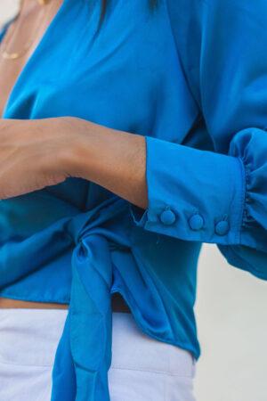 Camisa Transpassada – Azul